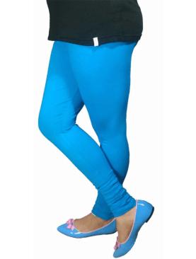 Women's cotton plain leggings-Light Blue.