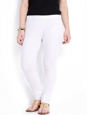 Women's cotton leggings-White.