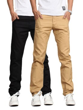 2 Pack Men's khaki trousers-Black|Brown.