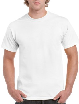 Men's short sleeved round neck t shirt-White