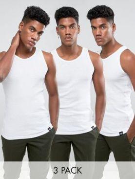 Men's 3-pack pure cotton vests-White.