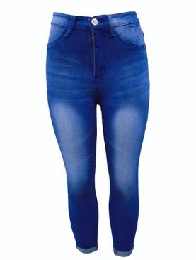 Women's faded denim jeans-Blue.