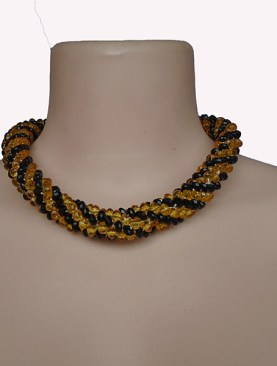 Women's glass bead necklaces-Gold|Black.