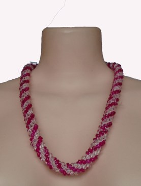 Women's classy glass bead necklaces-Pink White.