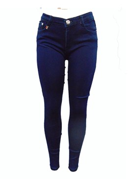 Women's plain denim jeans-Blue.