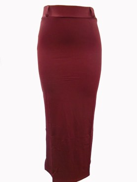 Women's plain long skirts-Maroon.