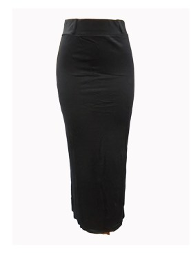Women's plain long skirts-Black.