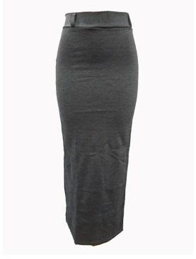 Women's long skirts with no slit-Grey.