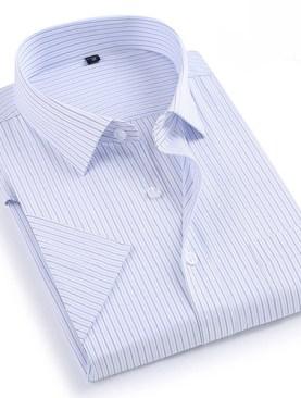 Men's striped short sleeved shirts-White.