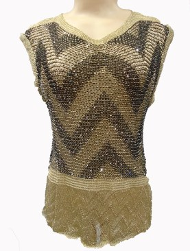 Women's trendy sleeveless tops-Black&Gold.