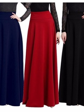 3 Pack ladies long skirts-Black,Red,Navy Blue.