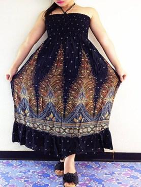 Women's free wear dress with peacock dress-Multi-Color.