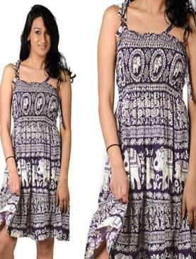 Women's short dress with elephant prints-Purple&White.