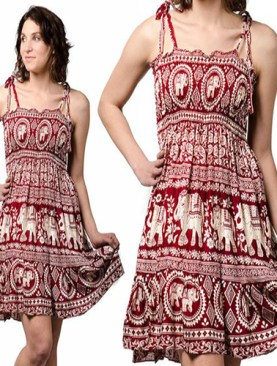 Women's free wear dress with elephant prints-Maroon.