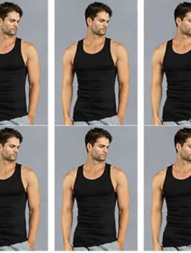 Men's 6 pack cotton vests-Black.