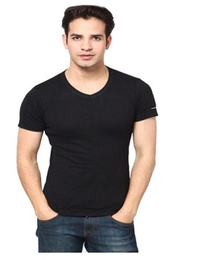 Body tight undershirt with short sleeves-Black.