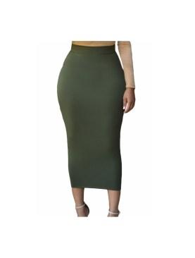 Women's body con maxi skirt-Army Green.