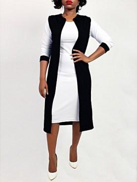 Sleeveless throw on cardigan-Black.