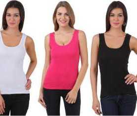 Ladies 3 pack cotton vests-White,Pink,Black.