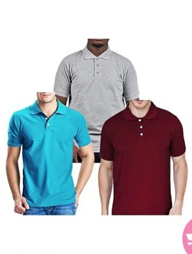 Three Pack short Sleeved Polo Shirts - Blue,Maroon,Grey
