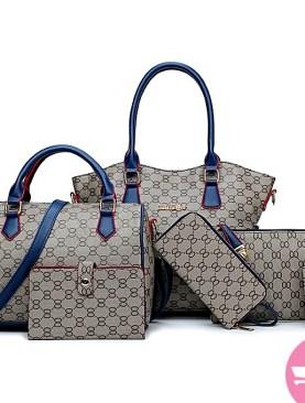 6 pack hand bag set for ladies-Brown.