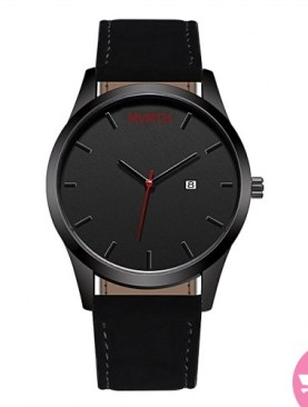 Men's leather watch-Black.