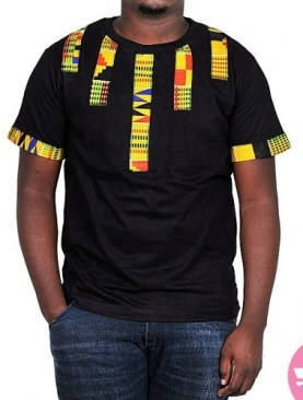 Spectacular kitenge round neck t-shirt-Black.