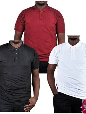 3 Pack cotton polo t-shirts-Black,Maroon,White.
