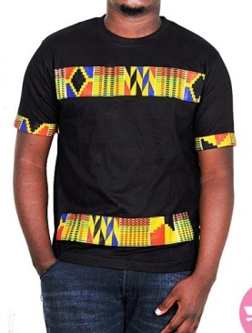 Fashionista round neck t shirt with a blend of kitenge-Black.