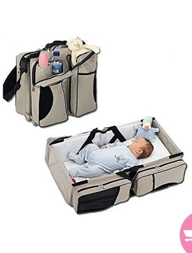 3 in1 Baby diaper bag - travel bassinet - changing station - with mosquito baby net - Multi-Colors.