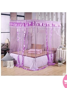 Four Corner Post Bed Canopy Luxury Lace Princess Quadrilateral Bed Cover Mosquito Insect Nets for Home Decor Wedding - Purple