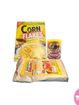Bundle of Maganjo Toto Infant Cereal Banana 500g, Cornflakes, 250g - Booster,1Kg