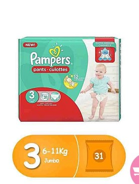 Pampers pants high count -S3 (6 -11Kg) 31 pcs .Midi