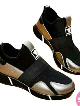 Lightweight Walking Soft Sole Casual Shoes- black and gold