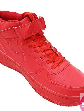 Men's lace up and buckle sneaker shoes- red