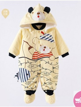 BABIES COTTON PADDED OVERALLS WITH HOOD WITH ANIMAL PRINT-YELLOW
