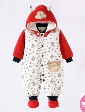 BABIES COTTON PADDED OVERALLS WITH HOOD-MULTI--COLOR