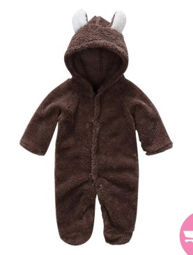 BABIES COTTON OVERALLS WITH HOOD-COFFEE BROWN