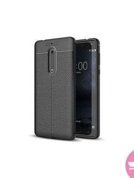 Universal Nokia 5 Silicone Case, Litchi Pattern TPU Anti-knock Phone Back Cover For Nokia 5 - Black