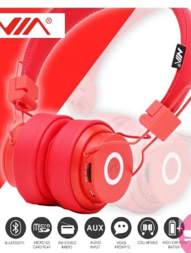 NIA X6 Wireless Bluetooth Headphones with Mic Stereo Bluetooth Headset Support TF Card FM Radio Sport Earphone -in Bluetooth Earphones & Headphones - Red