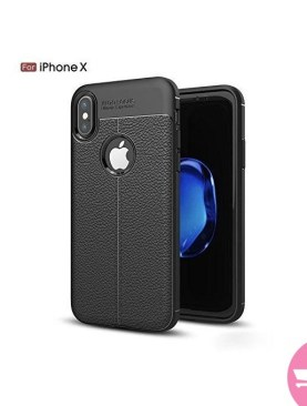 Auto Focus Soft TPU Leather Back Cover For iPhone X - Black