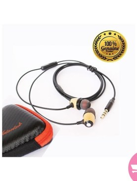 Bass Woody Earphones with Mic, Wood Headphones, Wood earbuds, + Free Protection Case - Black