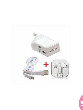 Ergonomic In-Ear Pure Sound Earpieces + Infinix Fast Charger And USB Cable - White