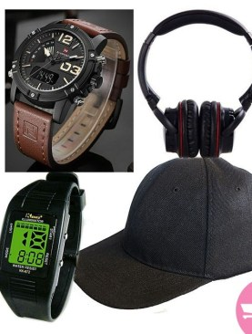 Bluetooth Over Ear Wireless Bass Headphones With Mic(Black) + Premium Naviforce Watch+ Plain Baseball Cap + Free Kids Digital Watch