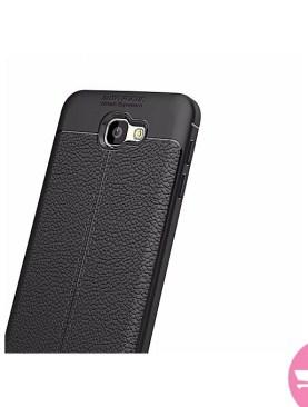 Auto Focus Shock Proof Carbon Fiber Rugged Armor Soft Back Case for Samsung Galaxy J7 Prime - Black