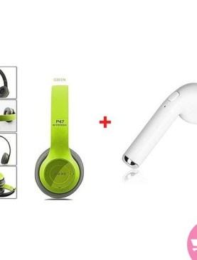 Combo Of P47 Super Bass Wireless Headsets And i7 Wireless Right Ear Earphone - Green,White