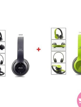 Bundle Of Two Wireless Base Headsets - Green,Black