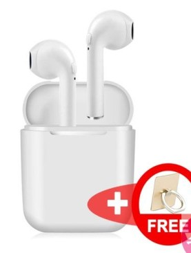 Latest I9S Wireless Headset Bluetooth Headphones In-ear Hidden Airpods / Earbuds / Mini Stereo Sports Portable For IPhones, Android Devices and All Smartphones Plus a Free Ring Phone Holder - White.