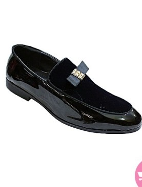 Men stylish leather with suede- black