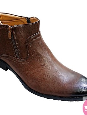Men's zip up boot shoes - brown